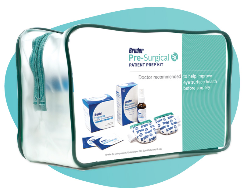The Bruder Sx Pre-Surgical Patient Prep Kit includes hygienic eyelid wipes to help patients clean their eyes and prepare for surgery.