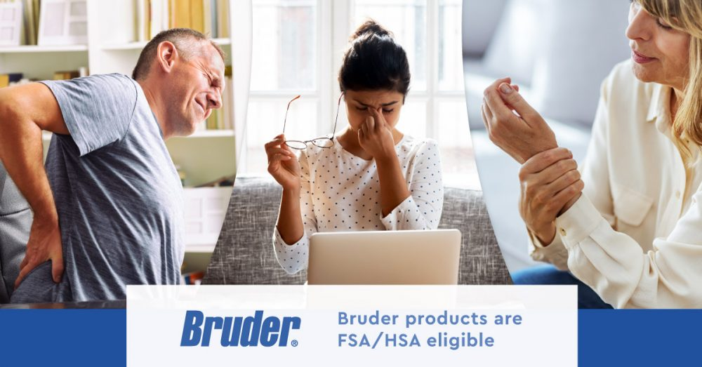 Two people with back and wrist pain who will use their FSA dollars on bruder products